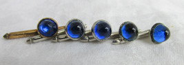 5 Vintage Blue Glass Torpedo Tail Lights Silver Plated Studs Formal Wed ... - $14.85