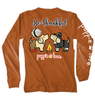Puppie Love Rescue Dog Long Sleeve Graphic Tee/T-Shirt, Thankful Pup