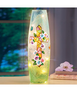 Bright Easter Mosaic Cross with Flowers Cracked Glass Hurricane Lamp - H... - $24.99