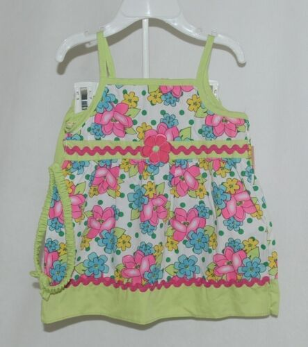 Mon Petit Lime Green Flowered Babydoll Top Bloomers Elastic Headband 18 Month