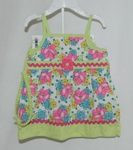 Mon Petit Lime Green Flowered Babydoll Top Bloomers Elastic Headband 18 Month image 1
