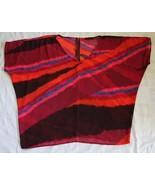 Women's Plus 2x DEX V-neck Multicolor Reds Top Shirt Batwing Zipper Back Shell - $16.83