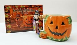 Halloween Ceramic 3D Pumpkin Witch Mug Hand Painted Festive Details New - $19.26