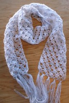 Scarf hand crocheted white silver 6.5 x 62 fringe - $20.00