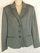 Worthington Stretch Size 4 Gray w/ Burgundy Striped Jacket Blazer 4 Button  - $17.77