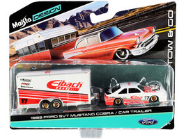 1993 Ford SVT Mustang Cobra #17 with Enclosed Car Trailer Eibach White with Red  - $25.89