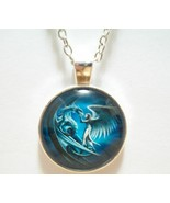 Angel and Dragon Glass Cabochon Pendant Necklace SC544 - $6.98
