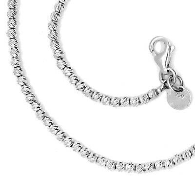 "18K WHITE GOLD CHAIN FINELY WORKED SPHERES 2 MM DIAMOND CUT BALLS, 16"", 40 CM"
