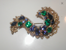 Vintage 1950's Green and Blue Rhinestone Brooch signed BSK - $28.66