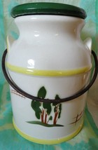 MILK CAN shaped Cookie Jar with lid metal handle 9 3/8 inches tall - $24.74