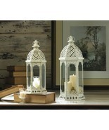 2 Graceful Distressed White Candle Lanterns w/ Flourishes 1 Large & 1 Small - $48.49