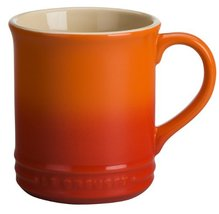"Le Creuset ""Volcanic"" Stoneware 12 Ounce Coffee Mug, Set of 2 Orange Sol... - $44.80"