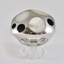 925 SILVER RING RHODIUM TO FSCIA WITH NACRE WHITE AND ENAMEL BLACK - $83.69