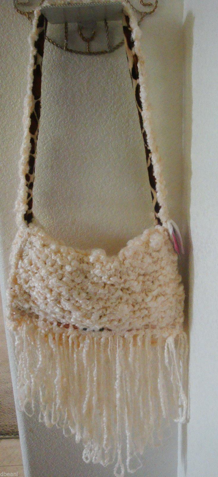 Cream Yarn Knit w Fringe & Beads Giraffe Print Lined Handbag  Bag Hag By Jessica