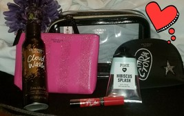 Victorias Secret Pink Black Cosmetic Beauty Bag 3PC Make Up Clutch - $37.64