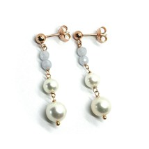 18K ROSE GOLD PENDANT EARRINGS, WITH FW PEARLS AND CHALCEDONY image 2