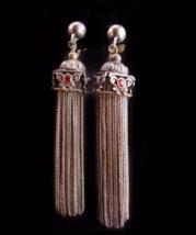 Antique 2ct garnet earrings / silver tassel set / gypsy fringe jewelry  Vintage - $525.00