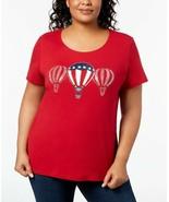 Karen Scott Womens Plus Embellished Short Sleeves Graphic T-Shirt Red 1X - $9.80