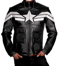 Chris Evans Avengers Endgame Captain America Black Leather Costume Jacket image 1