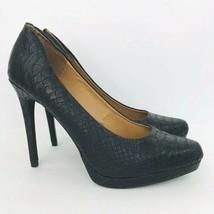 Mia Talia Black Croc Snake Embossed 8.5 M Platform Stiletto Heel Pumps Shoes - $44.54