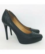 Mia Talia Black Croc Snake Embossed 8.5 M Platform Stiletto Heel Pumps S... - $44.54
