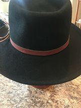 DORFMAN PACIFIC Fedora Black Wool Felt Velvet Hat Feather Sz M Brush Made USA image 5