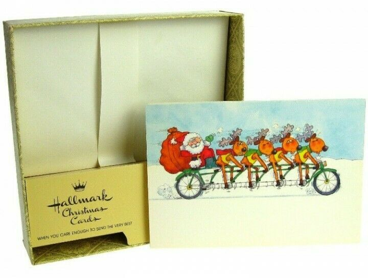 Vintage Hallmark M Smith Santa Claus Reindeer Bicyclist Christmas Greeting Cards - $24.99