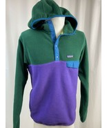 Vintage Patagonia Synchilla 2 Toned Fleece Snap-T Hoodie, Men's M, Green... - $94.99