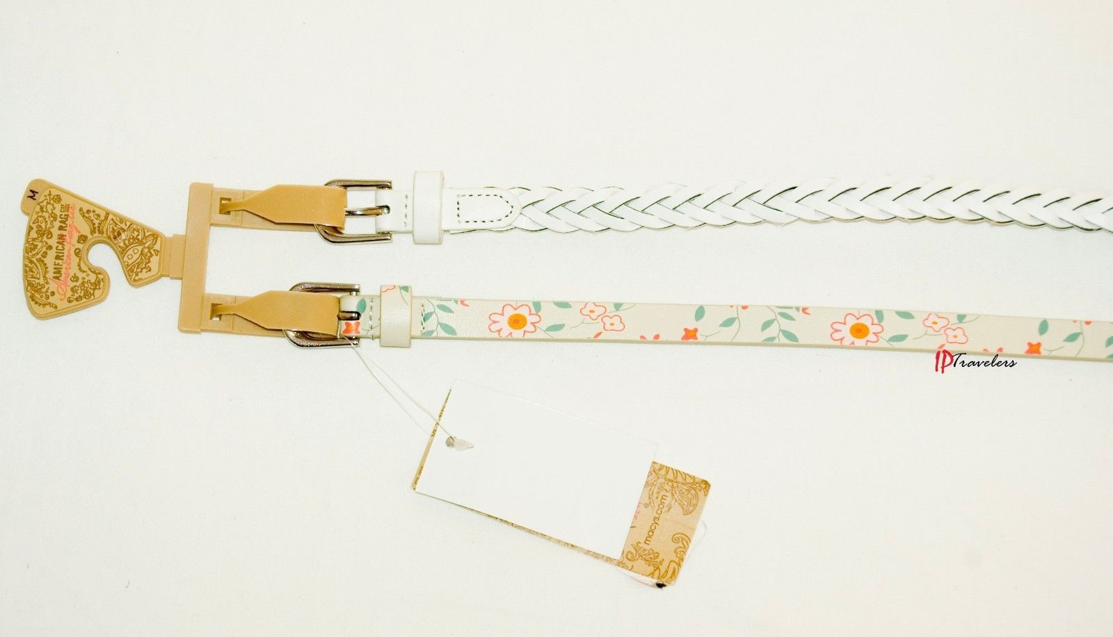 American Rag CIE Women's Belt 2 for 1 White Braided and Floral Skinny Medium $24