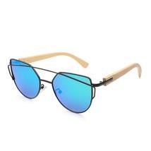 OYALIE Wooden Bamboo Cat Eye Sunglasses Metal Frame Wood Bamboo Ladies S... - $17.56