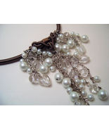 Necklace SeaShell Pearls & Glass Beads White - $12.99