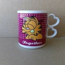 Vintage 1978 Enesco Garfield Together Tea Coffee Mug Heart Handle 10 oz - $11.88