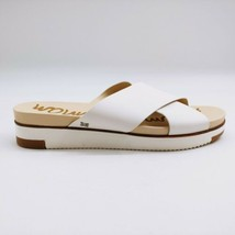 Sam Edelman Womans Audrea Cross Strap Slide Sandal White Leather Cushion Sz 11 M - $59.39