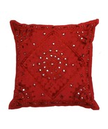 "16"" Handmade Mirror Work Sofa Couch Throw Pillow Cushion Cover Crimson Red - $9.89"