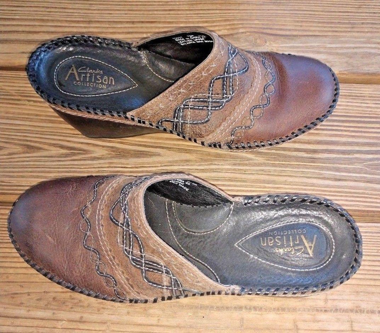 Clarks Size 7.5 Artisan Collection Brown Leather Slide On Slides Comfort Career