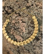 Francois Vintage Leaf Motif Brushed Gold Choker Necklace 1937 to 1960 - $110.00