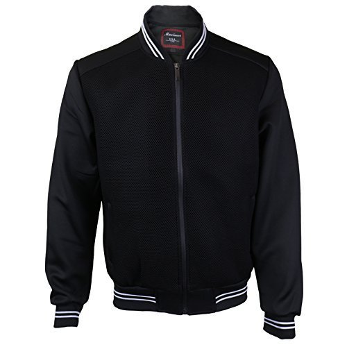 Maximos USA Men's Lightweight Mesh Zip Up Bomber Jacket (Large, Black / White)
