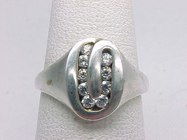 9 CHANNEL Set CUBIC ZIRCONIA Ring in STERLING SILVER - Size 6 1/2 - $45.00