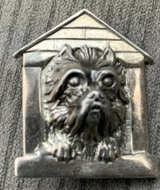 GFMW 925 Silver - Vintage Yorky Dog In Doghouse Brooch Pin - $35.43