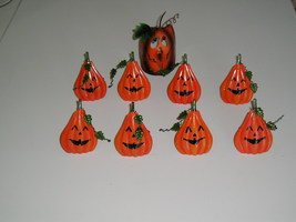 Jack O'Lantern Pumpkin Napkin Rings, Set of 8. Plus a Pumpkin Candle Ho... - $25.00