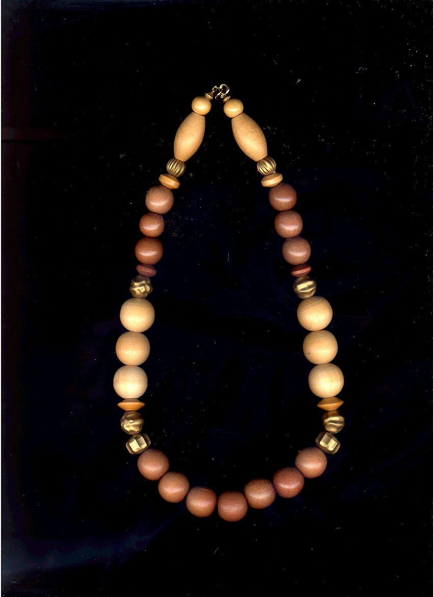 Primary image for   Wood Bead Two Toned Vintage Necklace