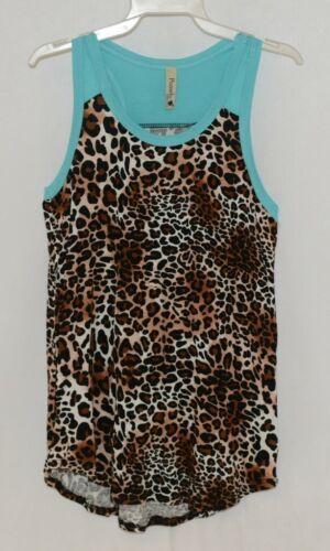 Pomelo Girls Tunic Aqua Brown White Black Leopard Print Size Medium