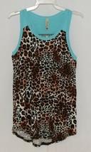 Pomelo Girls Tunic Aqua Brown White Black Leopard Print Size Medium image 1
