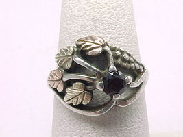 BLACK HILLS GOLD and STERLING Silver GARNET RING - Size 5 3/4 - $75.00