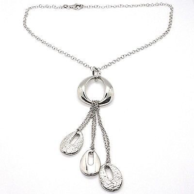 SILVER 925 NECKLACE, CHAIN ROLO', THREE DROPS HANGING, WORKED AND SMOOTH