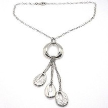 SILVER 925 NECKLACE, CHAIN ROLO', THREE DROPS HANGING, WORKED AND SMOOTH image 1