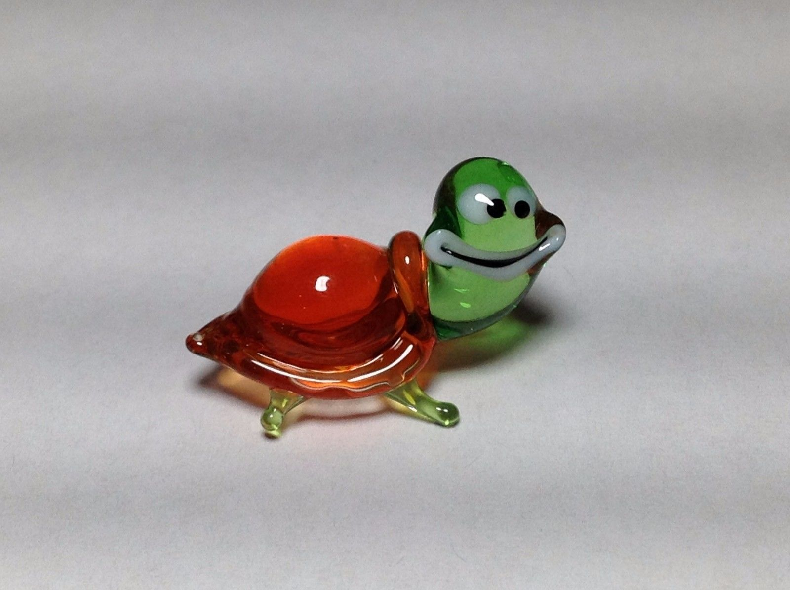 Miniature Glass red green smiling turtle Handmade Blown Glass Made USA