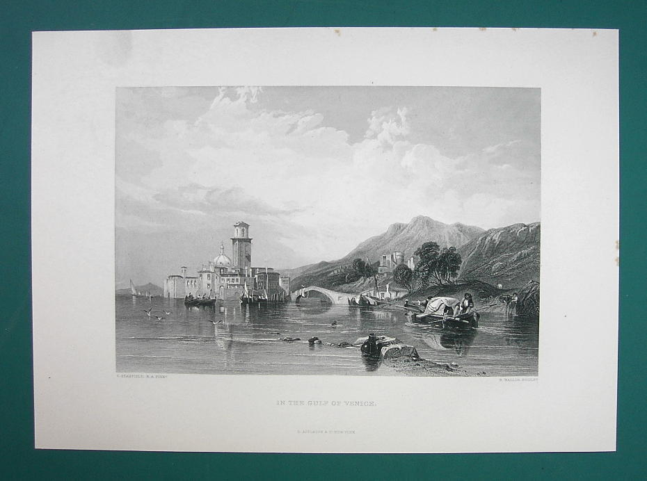ITALY Scenery in Gulf of Venice by Stanfield - 1875 Antique Print Engraving image 2