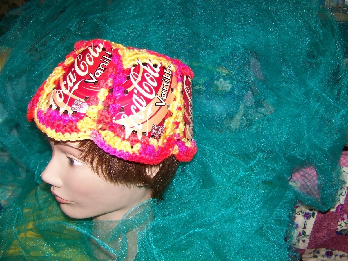 Primary image for Coke can hat Coca-Cola retro redneck couture crocheted New Vanilla