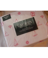 Ralph Lauren Red Sailboats Nautical on White Sheet Set Queen - $104.00